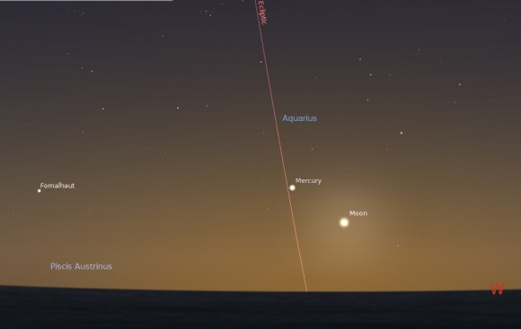 Looking west on January 31st 30 minutes after sunset. (Created using Stellarium).