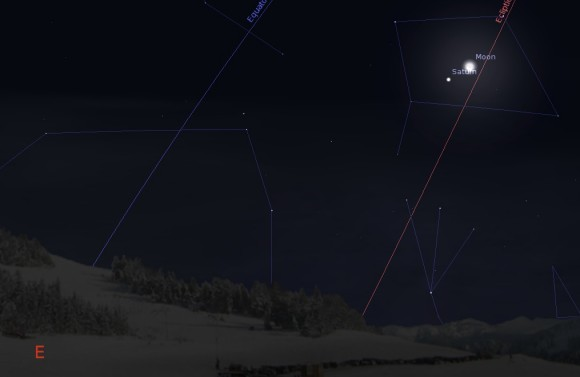 Saturn and the waning crescent Moon rising to the SE at about 4 AM local on January 25th, 2014. Created using Stellarium
