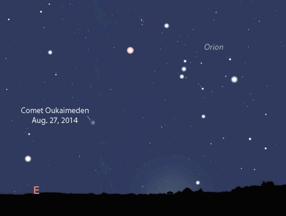Comet Oukaimeden may glow around 8th magnitude in late August 2014 when it rises with the winter stars before dawn. Stellarium.