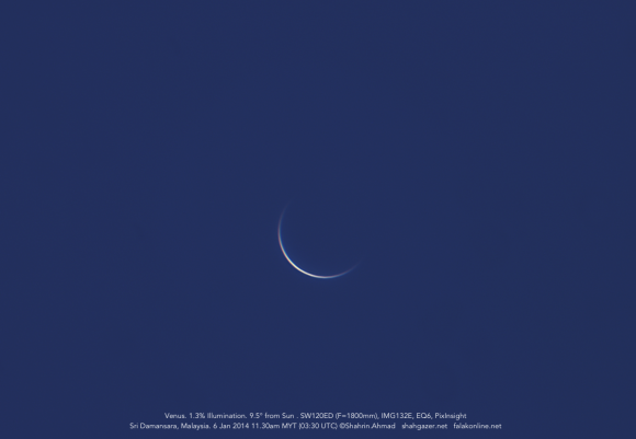 A daytime Venus just over five days from inferior conjunction. Credit