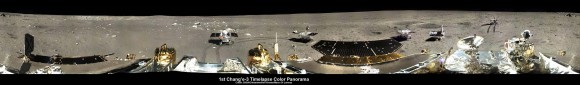 360-degree time-lapse color panorama from China's Chang'e-3 lander. This new 360-degree time-lapse color panorama from China's Chang'e-3 lander shows the Yutu rover at five different positions, including passing by crater and heading south and away from the Chang'e-3 lunar landing site forever during its trek over the Moon's surface at its landing site from Dec. 15-22, 2013 during the 1st Lunar Day. Credit: CNSA/Chinanews/Ken Kremer/Marco Di Lorenzo – kenkremer.com.  See our Yutu timelapse pano at NASA APOD Feb. 3, 2014: https://apod.nasa.gov/apod/ap140203.htm