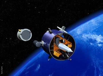 An artist's conception of NASA's Lunar Prospector mission leaving Earth orbit. Credit: NASA.