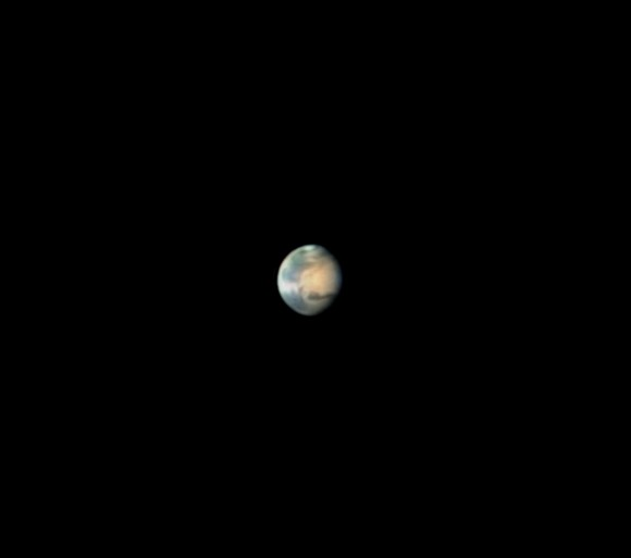 "Mars imaged by Leo Aerts on February 3rd. Shot using a Celestron 14"" scope, DMK 21AU618 webcam with a 2.5 powermate projection and a RGB Baader filter set."