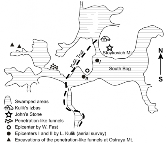 A schematic of the Tunguska event. Image Credit: