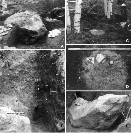 Photos (1972) of John's Stone and related findings. Image Credit: