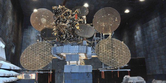 EchoStar XVI in its clean room. Credit: Space Systems Loral.