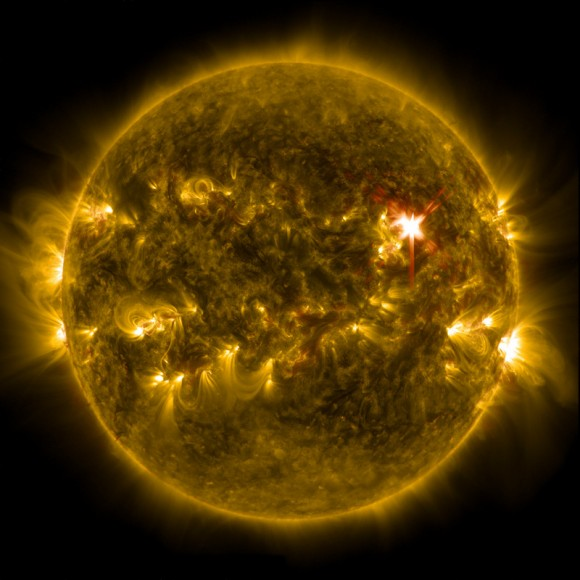 Extreme ultraviolet light streams out of an X-class solar flare as seen in this image captured on March 29, 2014, by NASA's Solar Dynamics Observatory. This image blends two wavelengths of light: 304 and 171 Angstroms, which help scientists observe the lower levels of the sun's atmosphere. Image Credit: NASA/SDO.
