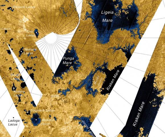 "Map of Titan's northern ""Land o' Lakes"" made from Cassini radar imaging passes (NASA/JPL/USGS)"