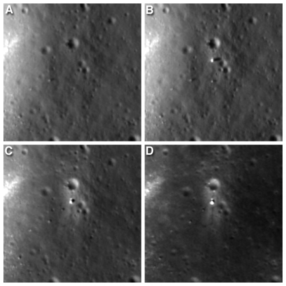 """Four LROC NAC views of the Chang'e 3 landing site. A) before landing, June 30, 2013 B) after landing, Dec. 25, 2013 C) Jan. 21, 2014 D) Feb. 17, 2014 Width of each image is 200 meters (about 656 feet). Follow Yutu's path clockwise around the lander in """"D.""""  Credit: NASA/Goddard/Arizona State University"""