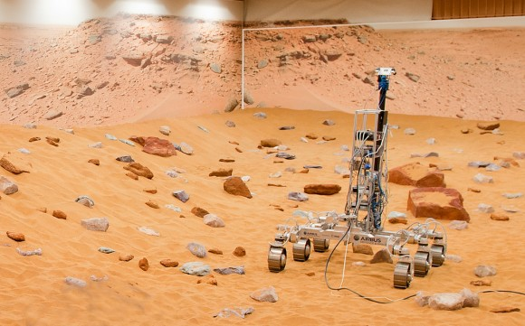 """A Martian rover prototype nicknamed """"Bryan"""" inside a newly upgraded """"Mars Yard"""" in Stevenage, United Kingdom. The European Space Agency announced the improvements as it works on the ExoMars rover, which is slated to land on the Red Planet in 2018. Credit: Airbus Defence and Space"""