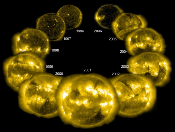 A solar cycle in X-rays. The peak in 2001 is visible at the front, with quietest years 1996 and 2006 near the back. The sun's 11-year-solar cycle sees an increase in sunspots and solar activity at its peak. The year 2014 is close to the peak year for activity, but the cycle has been more muted than the 2001 cycle. Credit: Steele Hill, SOHO, NASA/ESA