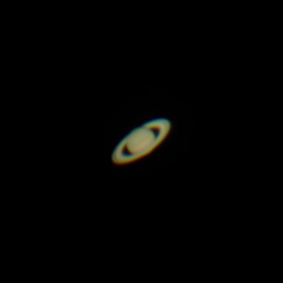 An outstanding IPhone 4S capture of Saturn on April 20th, 2014. Credit: Andrew Symes, @FailedProtostar.