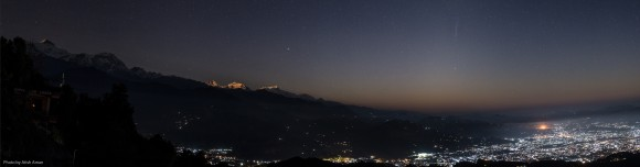 """""""Comet ISON over Pokhara City, Nepal"""" -- 1st place Cameras and Tripods: Atish Aman, Delhi, India,  Credit: Atish Aman"""
