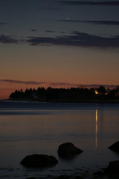"""Comet ISON, Port Medway, Nova Scotia"" -- 2nd place Cameras and Tripods: Barry Burgess, Nova Scotia, Canada. Credit: Barry Burgess"