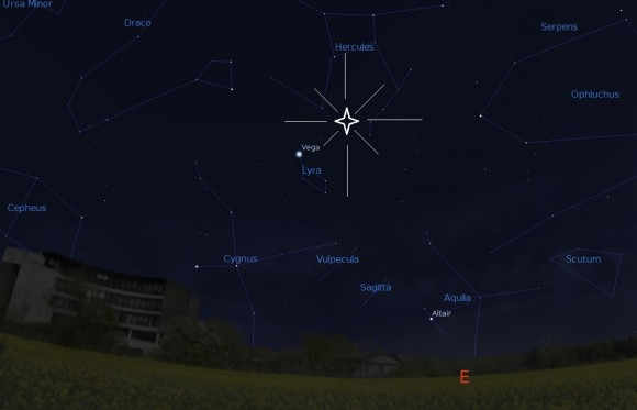 The rising Lyrid radiant, looking to the north east at 2AM local from latitude 30 degrees north. Created using Stellarium.