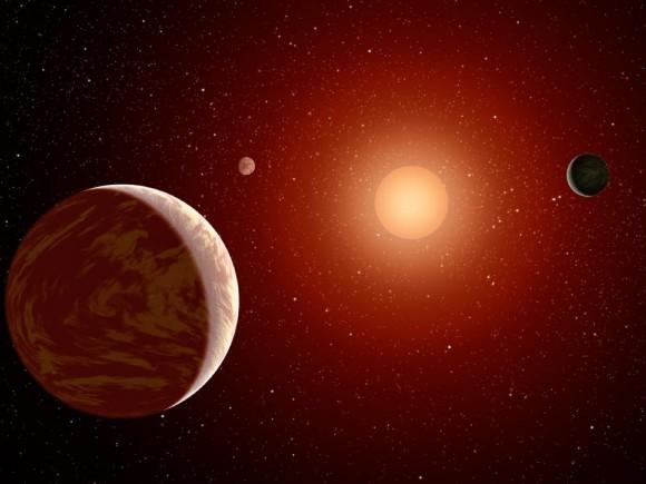 An artist's conception of a red dwarf solar system. Credit: NASA/JPL-Caltech.