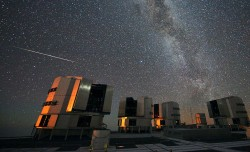 A 2010 Perseid meteor streaks over the European Southern Observatory's Very Large Telescope (VLT). Credit: ESO