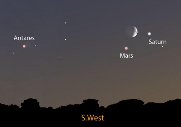 Tonight S Moon Mars Saturn Trio Recalls Time Of Terror