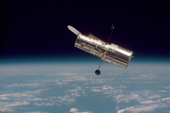 NASA's Hubble Space Telescope as seen during the second servicing mission to the observatory in 1997. (Credit: NASA)