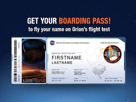 NASA invites you to send your name to Mars via the first Orion test flight in December 2014.  Deadline for submissions is Oct 31, 2014. Join over 170,000 others! See link below. Credit: NASA