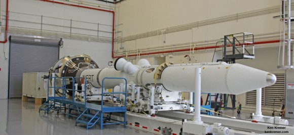 Launch Abort System (LAS) for Orion EFT-1 on view horizontally inside the Launch Abort System Facility at the Kennedy Space Center, Florida, prior to installation atop the crew module. Credit: Ken Kremer/kenkremer.com