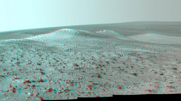 """Una immagine 3-D di """"Wdowiak Ridge"""" su Marte, basato sulle immagini del lato sinistro e destro del Pancam del rover Opportunity.  Credit:. NASA / JPL-Caltech / Cornell Univ / Arizona State University."""