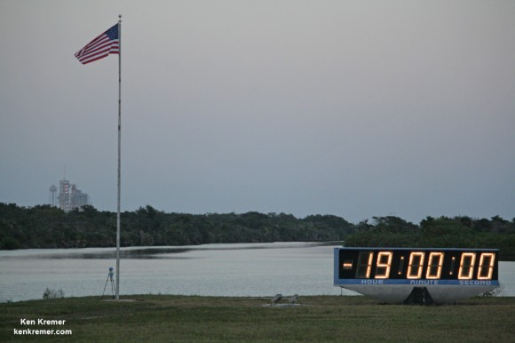 Space Shuttle Discovery awaits blast off on her final mission from Pad 39 A on the STS-133 mission, its 39th and final flight to space on February 24, 2011.  Prelaunch twilight view from the countdown clock at the KSC Press Site. Credit: Ken Kremer – kenkremer.com