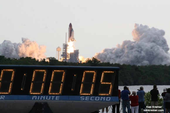 Space Shuttle Endeavour blasts off on her 25th and final mission from Pad 39 A on May 16, 2011 at 8:56 a.m. View from the world famous countdown clock at T Plus 5 Seconds. Credit: Ken Kremer – kenkremer.com