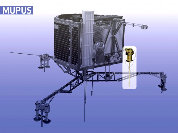 Sonda MUPUS de Philae tomou medidas de temperatura e martelado em superfície no local de pouso para descobrir a lander pousou em algum gelo muito duro.  Crédito: ESA