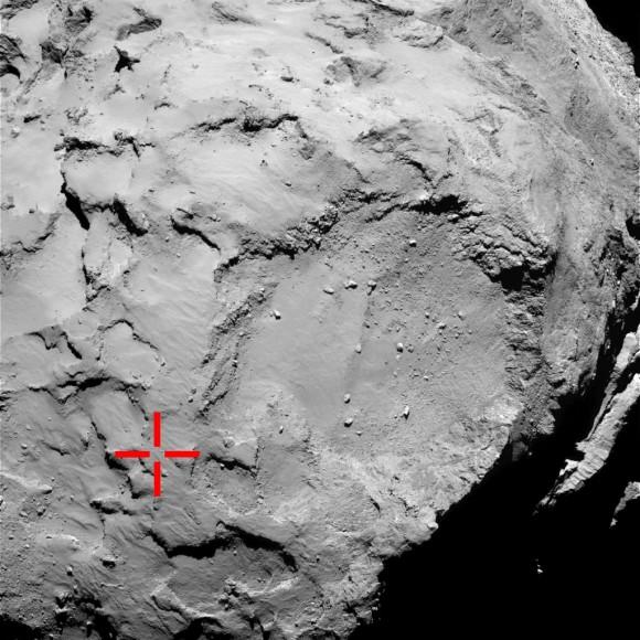 A localização do primeiro touchdown de Philae na superfície do cometa 67P / CG.  Embora coberto de poeira em muitas áreas, Philae encontrou fortes evidências de gelo firme por baixo.  Créditos: ESA / Rosetta / MPS para OSIRIS Equipe MPS / UPD / LAM / IAA / SSO / INTA / UPM / DASP / IDA