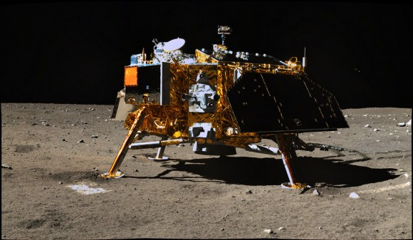 Chang'e 3 viewed from the Yutu lunar rover. The mission began in December 2013. Credit: Chinese Academy of Sciences