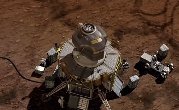 "A futuristic Mars lander portrayed in a December 2014 video from Boeing called ""The Path To Mars."" Credit: Boeing / YouTube (screenshot)"