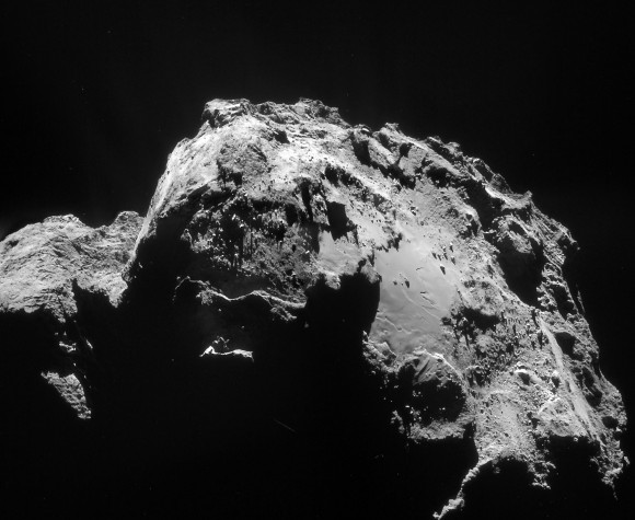 The complete mosaic image of the comet taken on January 3rd and processed, like most of ESA's comet images, to highlight surface features. Credit: Rosetta/