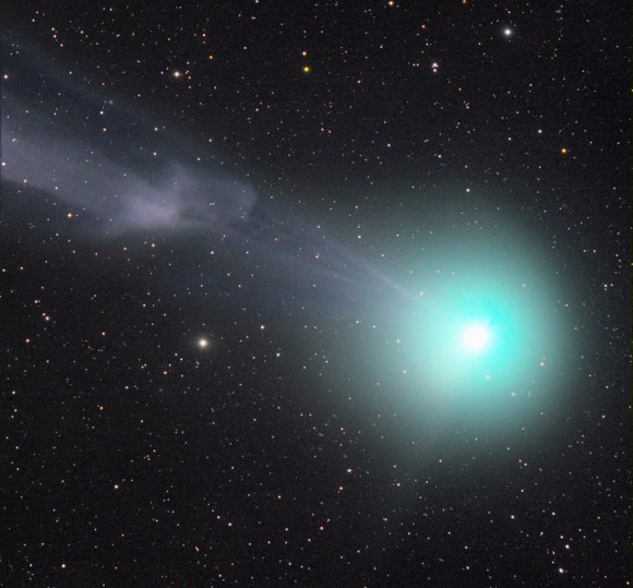 In this photo taken January 8th, the comet's tail is caught in the act of separated from the head or coma. Magnetic fields embedded in the stream of particles from the Sun occasionally reconnect on the rear side of a comet and pinch off its tail. Credit: Rolando Ligustri