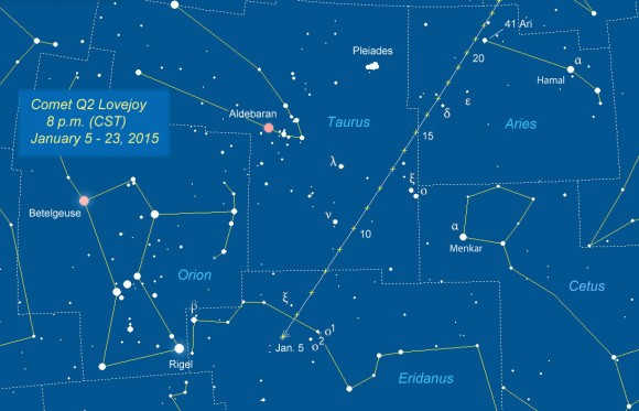 Comet Lovejoy position is shown for each night tonight through January 23rd. The comet should remain in the 4-5 magnitude range throughout. Click for a larger map you can print out and use outdoors. Click to enlarge and print for use outdoors. Source: Chris Marriott's SkyMap software