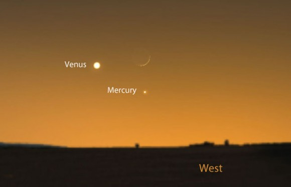 Mark your calendars for a cool conjunction of the 1-day-old lunar crescent, Mercury and Venus on January 21st. Source: Stellarium